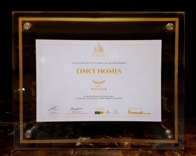 DMCI Homes was the top choice of 10,000 property buyers as the Best Value for Money developer for 2017 based on a study by property portal Lamudi Philippines.